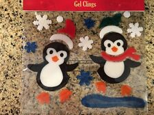 Penguins Snowflakes Christmas Gel Window Clings Holiday Scene Charms Larger Pk