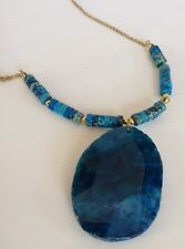 Panacea Large Blue Agate Natural Stone Beaded Pendant Necklace Goldtone $58