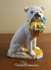 Antique German Porcelain Bulldog Bull Dog Figurine with Fruit Basket Classic!