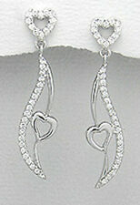 40mm Solid Sterling Silver CZ Heart on Wing Dangle Earrings 4.63g