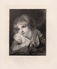 """Jean-Bapitiste GREUZE 1800s Etching """"Girl with an Apple"""" SIGNED Framed FREE COA"""