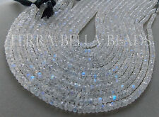 "6"" strand AAA RAINBOW MOONSTONE faceted gem stone rondelle beads 5mm"