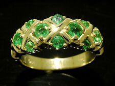 R168- GENUINE 9K 9ct SOLID Gold NATURAL Emerald KISS ETERNITY XOXO Ring size N