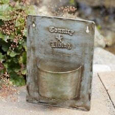 COUNTRY LIVING Wall Mount Flower Pot Tin French Vintage Style Primitive New