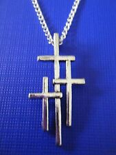 "FREE GIFT ** ANTIQUED SILVER ""Three Crosses"" PENDANT WITH 16"" CHAIN NECKLACE"
