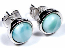 100% Natrual 8mm AAA Dominican Larimar Inlay 925 Sterling Silver Stud Earrings