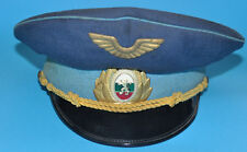 BULGARIAN BLUE MILITARY CAPTAIN OFFICER HAT WITH INSIGNIA VISOR CAP