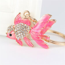 Pink Goldfish Fish Rhinestone Jewelry Crystal Pendant Charm Purse Key Chain Gift