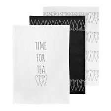 Heartlines Set of 3 Tea Towels White Black Hearts Pot Holder Kitchen BBQ Baking