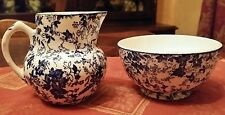 Stunning vintage blue white chintz floral cream sugar set JW Co Belgium