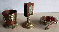 Byzantine Masonic ? Copper Brass Match Box Holder, Pot Dish Double Headed Eagle