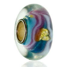 Blue & Pink Sterling Silver Glass European Charm Bead For Charm Bracelets