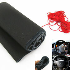 Black Genuine Leather Steering Wheel Cover Non-Slip Sweat With Red Cord For BMW