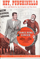 """THREE RING CIRCUS Sheet Music """"Hey Punchinello"""" Dean Martin Jerry Lewis"""