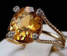 4.50ct Rio Golden Citrine Solitaire with Diamonds 10k Solid Gold Ring, Size 6