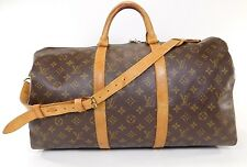 Louis Vuitton Keepall 50 Strap Duffle Bag Luggage Suitcase Leather Travel N252