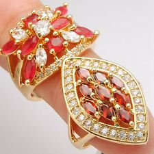 2Pcs/Lots Trendy Red Marquise Round Cubic Zirconia Gold Plated Lady Rings Size 8
