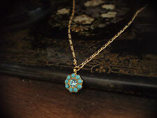 Vintage Aquamarine Blue Crystal & Turquoise Drop Pendant Necklace