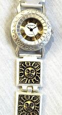 "SUN FACE WATCH *LADIES FASHION WATCH *2 TONE METAL 8"" BAND *NUMBERS ON FACE* NEW"
