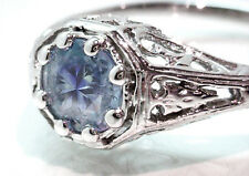 $1300  IGI CERT .78ct Round Brilliant Unheated Blue Sapphire Antique Style Ring