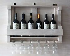 Distressed Wood Wine Glass Bottle Holder Rustic Handmade Wall Mount KitchenShelf