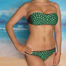 Xhilaration Green Bandeau Swimwear Bikini Swimsuit Bathing Suit Top S Bottom XS