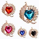 Hot Love Heart Gold Plated Rhinestone Crystal Bouquet Wedding Bridal Pin Brooch