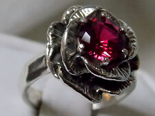1.60ct red ruby flower antique 925 sterling silver ring size 8.5 USA