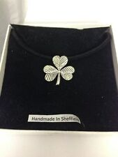 Shamrock PP-G52 Pewter Pendant on a  BLACK CORD  Necklace
