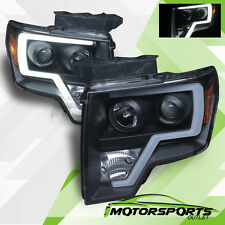 [LED Tube Bar] 2009-2014 Ford F-150 Pickup Truck Black Projector Headlights Pair