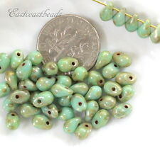 Tear Drop Beads, 4x6mm, Green Turquoise w/Picasso Finish, 50 Beads