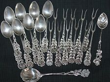 German 800 Silver Set Of 8 Demi Spoons 11 Olive Forks By Antico;  Plus 2 Spoons