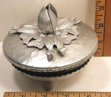VINTAGE RODNEY KENT ALUMINUM TULIP CANDY DISH W/LID & BASE RUBY GLASS INSERT