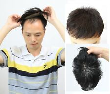 100% fine human hair mono base black toupee hair replacement system for men 6""