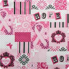 HALF YARD Breast Cancer Awareness RIBBONS OF HOPE Windham Love Butterfly Fabric