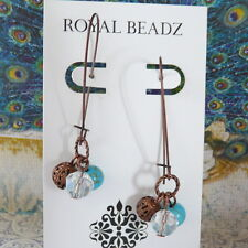 Blue Turquoise Clear Crystal Copper Beads Long Kidney Wire Threader Earrings