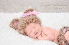 Lacy Bella Baby It's A Girl Fuzzy Bear Hat Beanie and Diaper Cover Newborn Brown