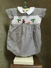 PIRATE TREASURE Smocked Beaded Bubble Romper One-Piece Baby Boy 18m Plaid CHECK