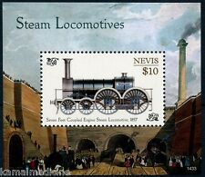Nevis 2014 MNH MS, Steam Locomotives, Trains, Coupled Antique Engine, Railways