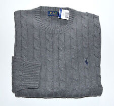 New Men's Polo Ralph Lauren Crewneck Cableknit Pullover Sweater Gray L, Large