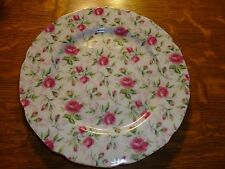 """VINTAGE LEFTON CHINTZ DESSERT PLATE 7"""" PINK ROSES DELICATE CHINA DISH SCALLOPED"""
