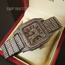 New Men Rick Ross Full Iced Out BLACK Bling Hip Hop Lab Simulated Diamonds Watch