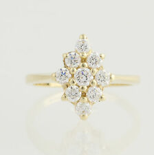 Cubic Zirconia Cluster Ring - 14k Yellow Gold Women's Size 5 1/4 Fashion CZ