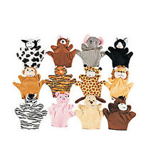 6 VELOUR HAND PUPPETS SET FUN KIDS PARTY FAVORS NEW CHILDREN SHOW ACTIVITY PLAY