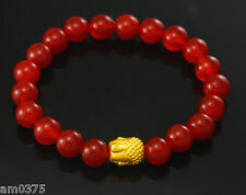 New Authentic 24k Yellow Gold Bless Buddha&Red Agate Bead Knitted Bracelet10*8mm