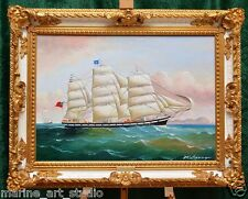 """MARINEN LISTED """"PORTRAIT OF OLD SAILING SHIP"""" LARGE PAINTING BAROQUE FRAME NAME"""