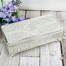 Personalizado Plateado Antiguo Joyas box-engraved Libre-La Boda, los profesores