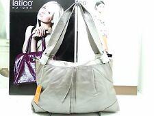 NWT Latico Shoulder Metallic Taupe Leather 2Front Slip Pockets Silver Ornaments