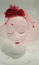 Red French Netting Bird Cage Veil - Hand Made! for weddings and social parties