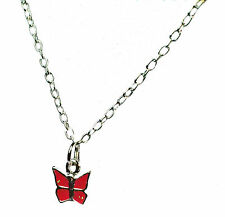ELEGANT SIMPLE PINK  GLITTERY LADIES BUTTERFLY NECKLACE SUMMER THEME (ZX9)